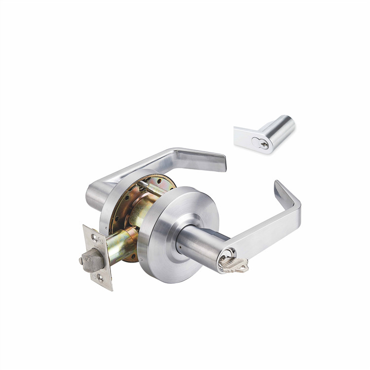 entrance leverset round tubular stainless steel door lock