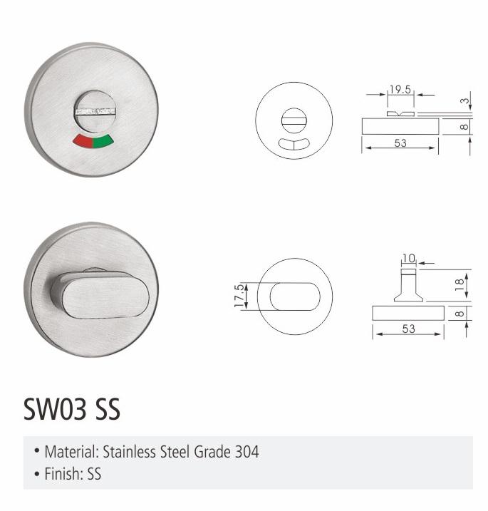 hot selling big thub-turn indicator bathroom locks